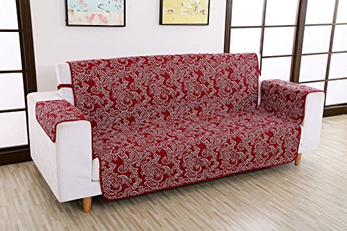 Reversible Furniture Protector Machine Washable Polyester Wti-Slip Waterproof Sofa Cover 75' x 110' (3 Seat Sofa, Red With Pattern)