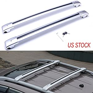 MotorFansClub Top Roof Luggage Rack Cross Bar Rail With Key For JEEP Cherokee 2014-2017