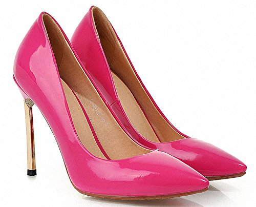 ENMAYER Womens Party Work Place Vintage Flowers Printing Patent Leather Pumps Fuchsia PrawJuGJ