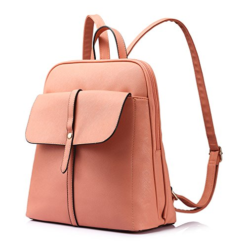 Backpack Purse for Girls School Travel Bag Bucket Shape Large Capacity Coral Pink by LOVEVOOK