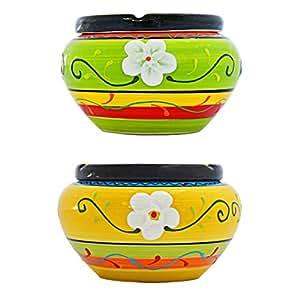 Super atractivo cenicero de cerámica de alta calidad–4Unidades–Amarillo y Verde–Multicolor bemustert–Diámetro de 13,5cm Altura 9cm
