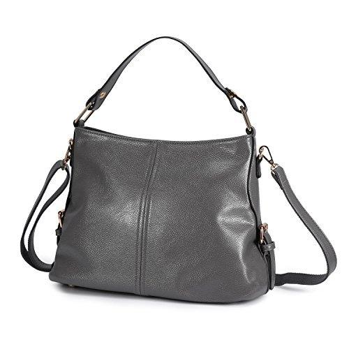 Women's Leather Handbag Top Handle Purse for Ladies Crossbody Hobo Bag Shoulder Tote Grey