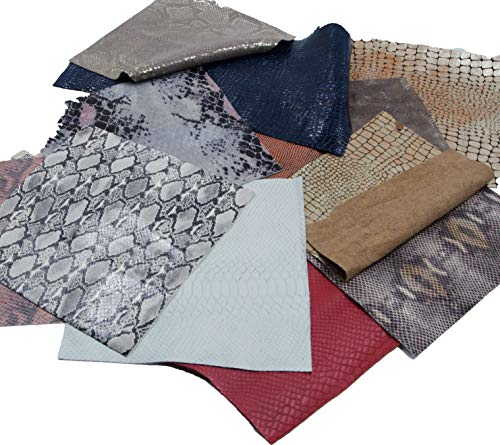 "Mardili Printed and Embossed Upholstery Leather Scraps,2LBs Large Pieces,Square(10""10"") and Irrgular Size"
