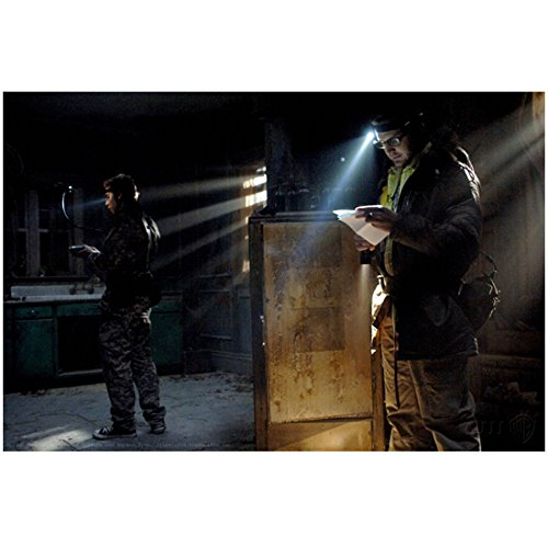(A.J. Buckley 8 inch X 10 inch photograph Supernatural (TV Series 2005 - ) Reading Paper w/Headlamp kn)