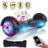 UNI-SUN 6.5'' Hoverboard for Kids, Two Wheel Electric Scooter, Self Balancing Hoverboard with Bluetooth and LED Lights for Adults, UL 2272 Certified Hover Board(Ultimate Black)