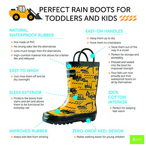OAKI Kids Rubber Rain Boots with Easy-On Handles 10T US Toddler Fireman Rescue