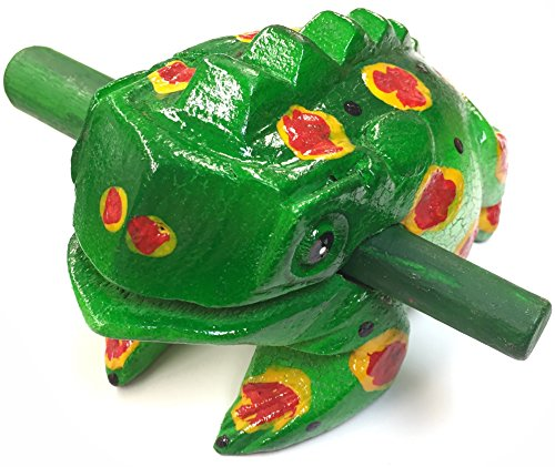 Wooden frog instrument large size 8''X 3''X 4'' Green color by Tiki