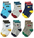 Deluxe Non Skid Anti Slip Slipper Cotton Crew Socks With Grips For Baby Toddlers Kids Boys (18-36 Months, 6 designs/RB-711)