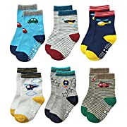 Deluxe Non Skid Anti Slip Slipper Cotton Crew Socks With Grips For Baby Toddlers Kids Boys (9-18 Months, 6 designs/RB-711)