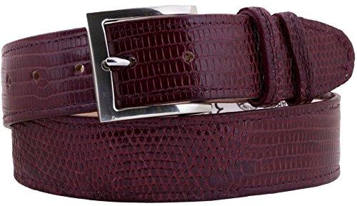 El Presidente - Men's Burgundy Lizard Skin Western Belt Silver Buckle 34