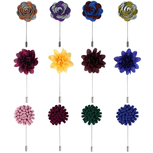 kilofly Men's Flower Lapel Pin Wedding Suit Boutonniere Stick [Set of 12] from kilofly