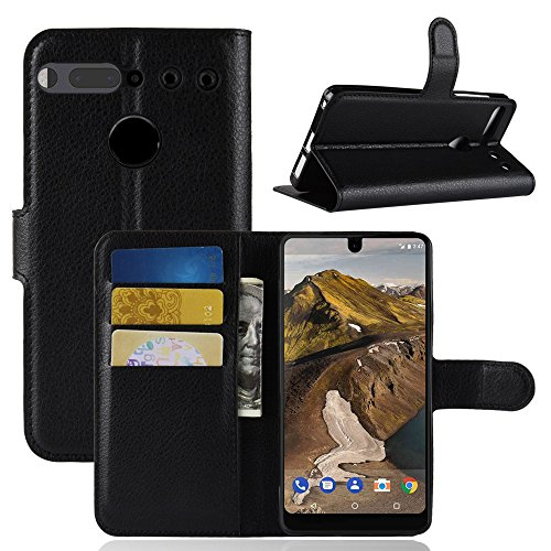 Essential Phone PH-1 Case Wallet, The Essential PH1 Cases, Essential Cell Phone Accessories, Essential PH 1 Protector Protective Flip PU Leather Protection Cover by Boonix (Classic Black (Essential 010 Case)