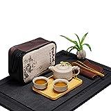 JKCOM Chinese / Japanese Kungfu Tea Set Portable Travel Tea Set Porcelain Teapot & Teacups & Bamboo Tea Tray & Tea Mat with a Travel Bag Dragon Pattern (2 Cups)