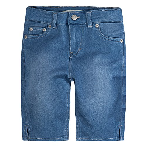 Levi's Big Girls' Super Soft Denim Bermuda Shorts, Light Indigo, 14 (Bermuda Slim Shorts)