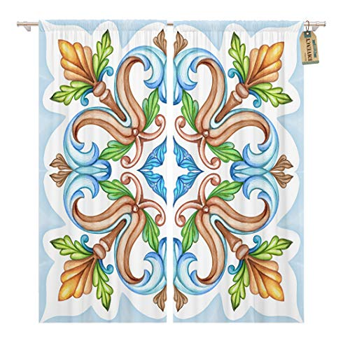 Golee Window Curtain Blue Watercolor Abstract Vintage Pattern Medieval Acanthus Ceramic Kaleidoscope Home Decor Rod Pocket Drapes 2 Panels Curtain 104 x 84 inches