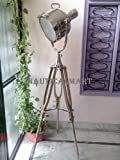 Nauticalmart Tripod Spot Light/ Tripod Floor Lamp/ Nautical Floor Lamp/ Nickel Plated Floor Lamp