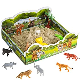 Cool Sand 3D Sand Box - Kinetic Play Sand For All Ages - Includes: 10 Shaping Molds, 12 Safari Figures, 1 lb. of Cool Sand and 3D Tray - Safari Edition