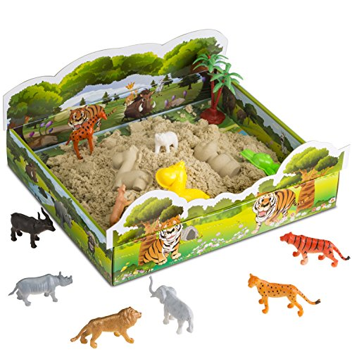 CoolSand 3D Sand Box – Kinetic Play Sand For All Ages – Includes: 10 Shaping Molds, 12 Safari Figures, 1 lb. of Cool Sand and 3D Tray - Safari Edition