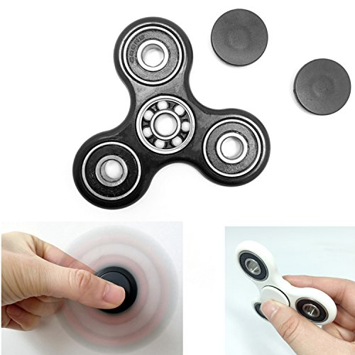 elefunlife CUSTOMS EDC Spinner Fidget Toy Stress Relief Bearing EDC ADHD Autism Focus Toy Non-3D printed (Black)