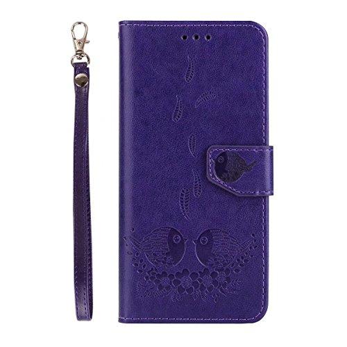 Abnehmbare Rückseiten-Abdeckung Entwurf PU-lederner Fall prägeartiger Vogel-Muster-schützender Mappen-Kasten für Samsung-Galaxie S8 Plus ( Color : Rosegold ) Purple