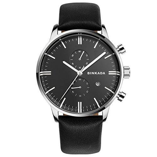 BINKADAメンズクラシックファッションカジュアルレザーQuartz Wrist Watches for Men Black Band B010VE45YGBlack Band