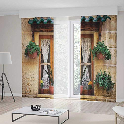 C COABALLA Decor Collection,Shutters,for Bedroom Living Dining Room Kids Youth Room,Basket of Flowers Historic Building Window with Classic Lace Curtain Inside Image2 Panel Set,79W X 83L Inches