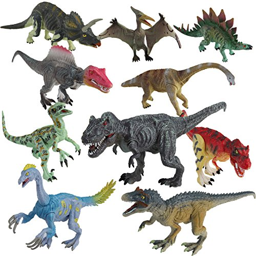 Dinosaur Toys Set for Toddlers Kids - Realistic Dinosaur Figures with Movable Jaws Including T-rex, Triceratops, Velociraptor and More Best Toy Gift Party Favors for Ages 3+ Year Old Boys Girls