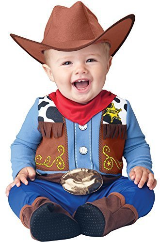 InCharacter Baby Boy's Wee Wrangler Cowboy Costume, Tan/Blue, Large