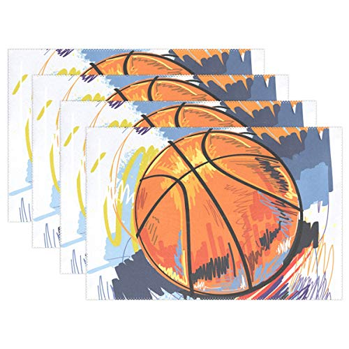 Hulahula Watercolor Basketball Placemats Set of 4 Heat Wrinkle Resistant Antiskid Table Mats Decoration for Dinner Kitchen Table