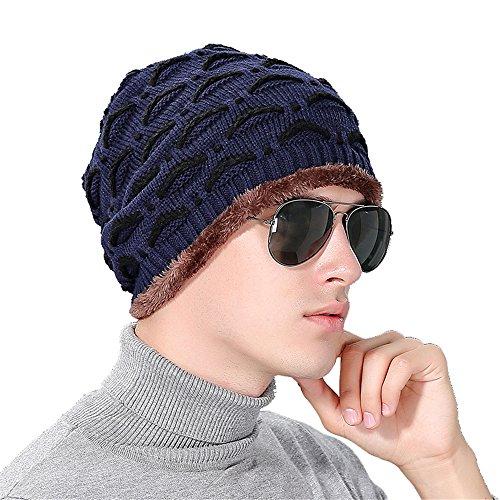 BaronHong Deportes oscuro patrón Slouchy Beanie Outdor sombrero del azul párpado Cap Skully terciopelo caliente unisex rrqTRSw