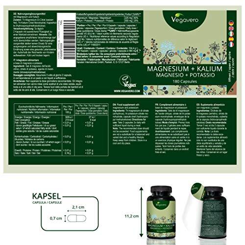 Vegavero | Magnesio 225 mg + Potasio 500 mg | SIN ADITIVOS | Recuperador Muscular + Calambres + Contracturas + Energía + Dolor Menstrual | 180 Cápsulas ...