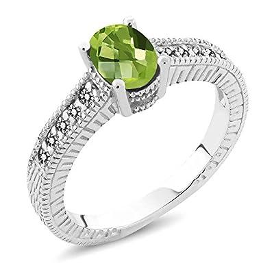 1.33 Ct Oval Checkerboard Green Peridot White Diamond 925 Sterling Silver Ring