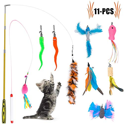 (Legendog Cat Teaser Wand, Cat Wand Toy With Natural 9 Assorted Feather Teaser With Bell Refills, Interactive Cat Feather Toys For Kitten, Fun Exerciser Playing Feather Cat)