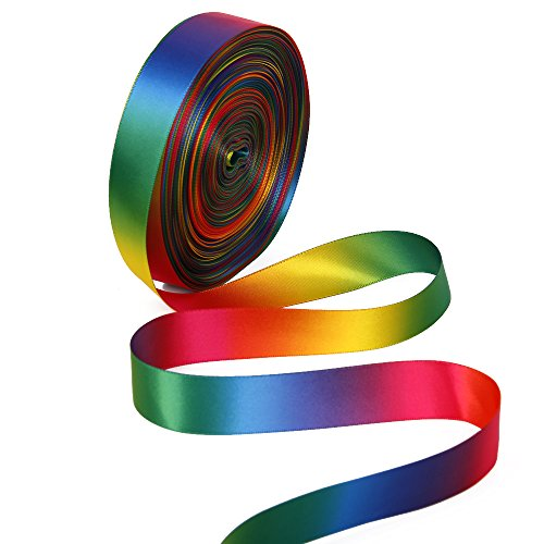 Satin Grosgrain Ribbon Gradient Rainbow Color Double Side Colorful Printed 50yd A Roll 1