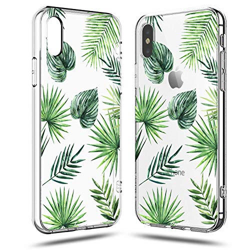 iPhone X Girls Case,iPhone X Case Women,Nature Green Big Palm Leaf Bahama Leaves Aloha Love Summer Tropical Tree Chic Fashion Hawaii Beach Spring Cute Trendy Clear Soft Case Compatible for iPhone X