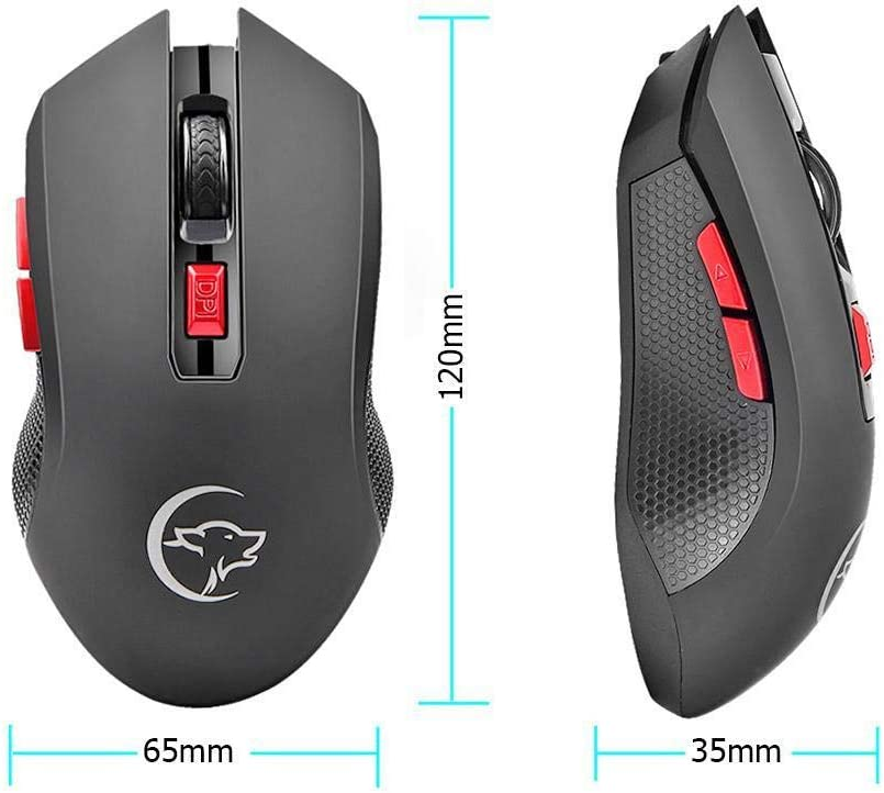 Maikouhai 2.4G Wireless Gaming Mouse 2400DPI 6 Buttons Optical Mice w//USB Receiver for PC