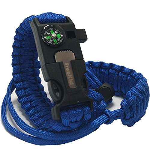 (Freekid Bracelet Survival Gear Kit with Embedded Compass, Fire Starter, Emergency Knife & Slim Buckle Design &Outdoor Double Layer/Wrist Strap -Hiking for Camera Cell Phone iPod/Mp3/Mp4/Psp)