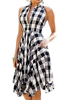 Wearlove Women Sleeveless Asymmetrical Hem Pockets Plaid Pleated Casual Shirt Dress