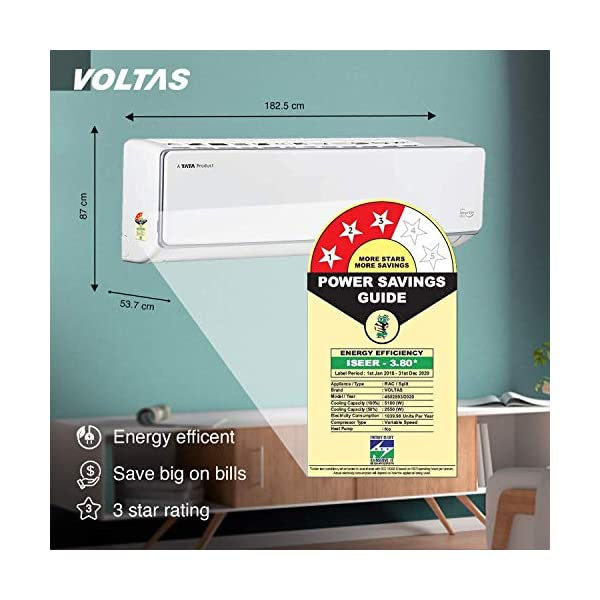 Voltas 1.5 Ton 3 Star Inverter Split AC (Copper 183VCZS White) 2021 July Split AC with inverter compressor: Variable speed compressor which adjusts power depending on heat load. It is most energy efficient and has lowest-noise operation Capacity: 1.5 ton Ton. Suitable for medium sized rooms (111 to 150 sq ft) Energy Rating : 3 Star Efficiency