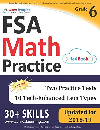 3 Inch Full Range - Florida Standards Assessments Prep: 6th Grade Math Practice Workbook and Full-length Online Assessments: FSA Study Guide