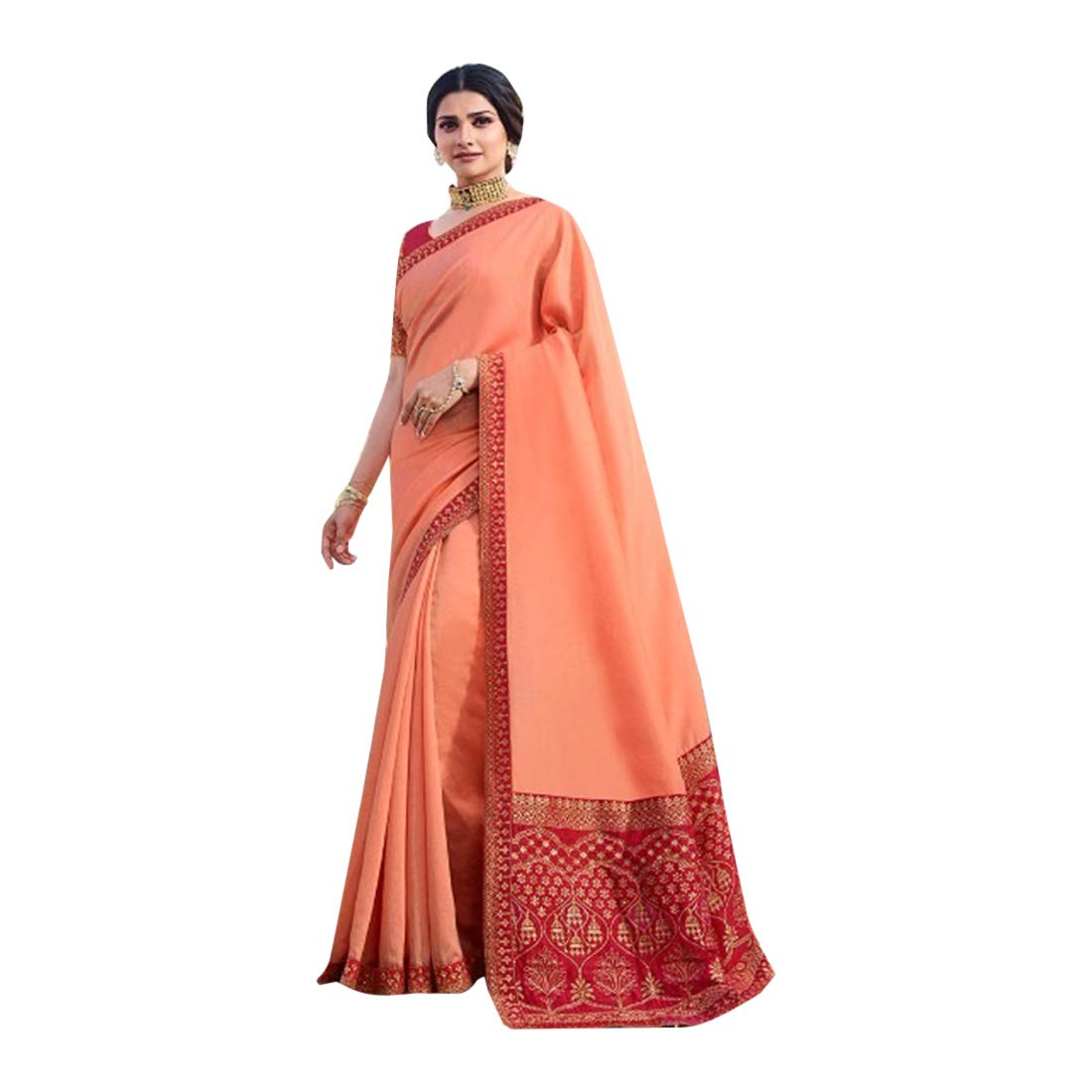 Indian Ethnic Silk with Embroidery Solid Saree Blouse piece Women Sari Designer Party wear 7814
