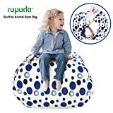 ROPODA Extra Large Kids Stuffed Animal Storage Bean Bag Cover-100% Cotton Canvas Storage Bag Perfect Storage Solution for Toys, Clothes,Covers or Blankets (blue polka dot, 38inches)