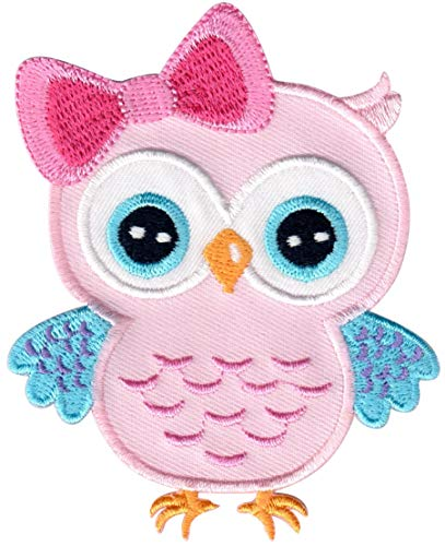 PatchMommy Owl Patch, Iron On/Sew On - Appliques for Kids Children (Pink/Blue) (Owl Fabric Pink)