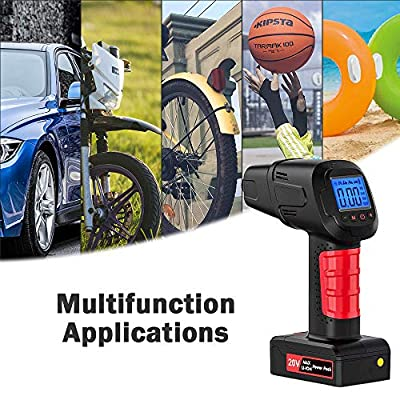 Bigzzia Portable Cordless Tire inflator Pump with LCD screeen Digital Pressure Gauge Hand Held Air Compressor 12V Rechargeable Lithium for Car,Bicycle, Motorcycle, Electric car, Balls: Automotive