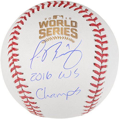 Javier Baez Chicago Cubs 2016 MLB World Series Champions Autographed World Series Logo Baseball with