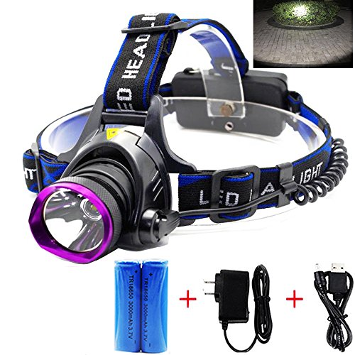 LED Headlamp, Waterproof Rechargeable Head Lamp Headlight Flashlight with 2×18650 Batteries USB Cable Plug Charger for Hunting Hiking Camping Fishing Reading Running Cycling (D-08)