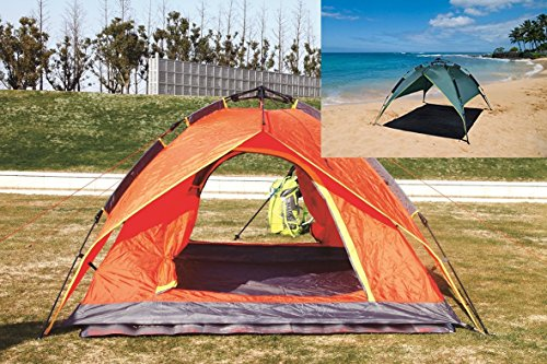 Ofit Waterproof Easy Push up Outdoor 2 Person Double Layer Instant Camping Beach Family Tent in Multiple Use (Orange)