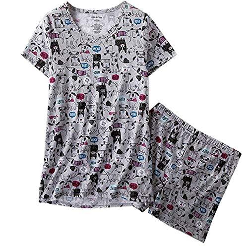 Aoymay Women's Pajama Set Cartoon Short Sleeve Sleepwear Pjs Sets Cotton Nightwear with Shorts(Dog,S)