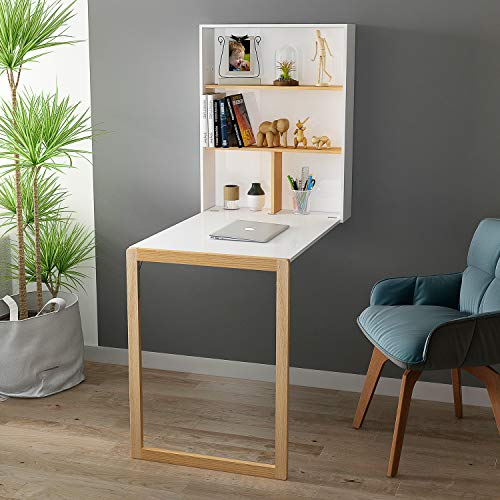 HOME BI Wall Mounted Table Fold Out Convertible Desk Multi-Function Computer Writing Dining Home Office Desk with Large Storage Area