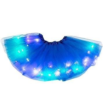 Ruick 2-8 Years Baby Girls Light Up LED Tutu Skirt Kid Fancy Party Costume Ballet Layered Dress